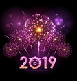 holiday festival pink firework happy new year vector image vector image