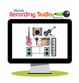 home recording studio on computer screen vector image vector image