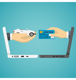 human hands exchanging credit card and car vector image
