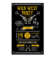 invitation wild west party flyer typography and vector image vector image
