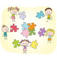Kids playing with puzzle vector image vector image