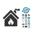 Kitchen Fire Flat Icon with Bonus vector image