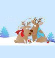 Merry christmas design card with deers and birds
