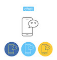 mobile chatting outline icons set vector image
