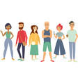 multiracial group young people vector image