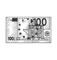 one hundred euro sketch engraving vector image vector image
