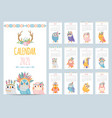 owl calendar color gift 2021 calendar ethnic vector image vector image
