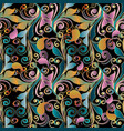 paisley colorful floral seamless pattern vintage vector image