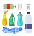 plastic waste collection on white vector image vector image