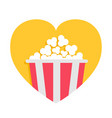 popcorn box icon red yellow strip heart shape i vector image vector image