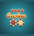red sign casino for online casino poker roulette vector image