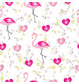 seamless pattern with flamingos and pink hearts vector image