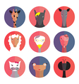 Set avatars animals female flat style vector image vector image