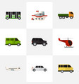set of 9 editable automobile flat icons includes vector image vector image