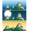 set of mountain view different time vector image