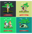 set tourist posters banners in flat vector image vector image