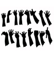 Silhouette set of hands in many gesture vector image vector image