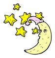 sleepy moon comic cartoon vector image vector image