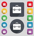 suitcase icon sign A set of 12 colored buttons and vector image vector image