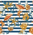 summer seamless pattern with sea shells anchor vector image vector image