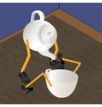 Teapot and cup on a table vector image vector image