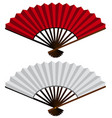 Two hand fans in red and white