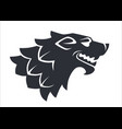 wolf head silhouette wild animal logo or heraldry vector image
