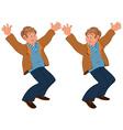 Happy cartoon man standing in brown jacket holding vector image