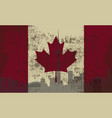 flag of canada and the outline of toronto vector image