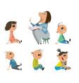 set of kindergarten characters vector image