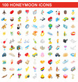 100 honeymoon icons set isometric 3d style vector image vector image