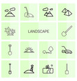 14 landscape icons vector image vector image