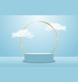 3d blue rendering with platform and clouds vector image