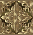3d gold textured floral seamless pattern damask vector image vector image