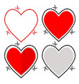 a cut out red heart symbol shape with scissors vector image vector image