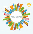 abu dhabi skyline with color buildings blue sky vector image vector image