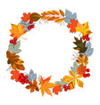 autumn leaves wreath vector image