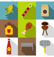 barbecue equipment icon set flat style vector image vector image
