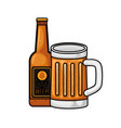 bottle of beer and glass isolated icon vector image