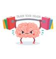 brain training cartoon brain lifts weight vector image vector image
