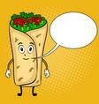 burrito cartoon pop art vector image vector image