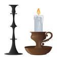 candlestick candle lantern vintage vector image vector image