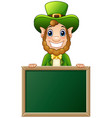 cartoon leprechaun holding chalkboard sign vector image vector image