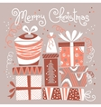 Christmas card with gift boxes vector image vector image
