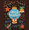 christmas greeting postcard decorated with garland vector image vector image