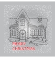 Christmas house with snowflakes on grey vector image vector image