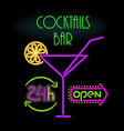 cocktails bar open 24 hours vector image
