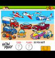 counting cars and planes educational game vector image vector image