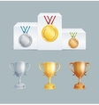 Cup and Medal Award Set vector image vector image