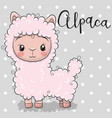 cute cartoon alpaca on a gray background vector image vector image